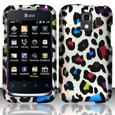 For Huawei AT&T Fusion 2 Rubberized HARD Case Snap Phone Cover Rainbow Leopard