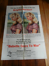 BABETTE GOES TO WAR / ORIGINAL ONE SHEET MOVIE POSTER ( BRIGITTE BARDOT ) 1960
