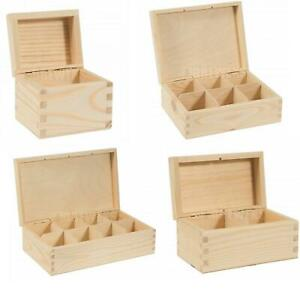 1/2/3/4/6/8/9/12 Compartments Wooden Tea Bag Box Natural Wood Decoupage Storage