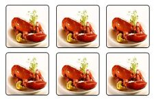 "LOBSTER BEVERAGE COASTERS - 1/4"" BAR & BEER SET OF 6"