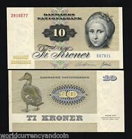 DENMARK 10 KRONER P-48 b 1978 DUCK UNC DANISH CURRENCY PAPER MONEY BILL BANKNOTE