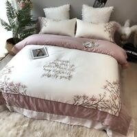 Luxury European Egyptian Cotton Bedding Set Embroidery Cover Bed Sheet 4pcs