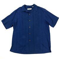 Island Republic Men's Blue Short Sleeve Embroidered Hawaiian Silk Blend Shirt L