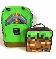 "Minecraft Backpack 17"" ""Green Sword"" & Minecraft ""Dirt Block"" Lunch Box NWT"