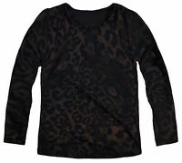 Girls Leopard Top New Kids Long Sleeved Printed T-Shirt Brown Tee Ages 4-13 Yrs