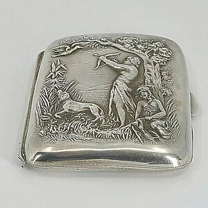 Fabulous Antique Art Nouveau Sterling Cigarette Case Huntress Diana Mono