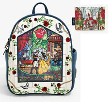 Loungefly Disney Beauty & the Beast Stained Glass Belle Mini Backpack Wallet Bag