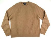 Brooks Brothers Mens L Wool Cashmere Cable Knit Crew Neck Sweater Tan LS