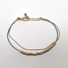 Light Blue Cord & Gold Tone Tiny Bead Double Strand Bracelet