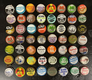 Set Of 56 X Vintage Soft Drink Bottle Caps Pepsi Halls Marinda Woodies Leed