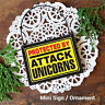 DECO Mini Sign PROTECTED BY ATTACK UNICORNS Plaque Wood Ornament New In Pkg USA
