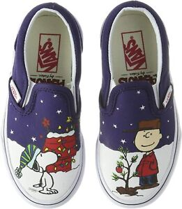 Vans Off The Wall Kids X Peanuts Charlie Brown Snoopy Christmas Slip-On Shoes