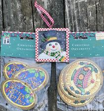 Lot of Vintage Mary Engelbreit Christmas Nip Cardboard Ornaments & Resin Snowman