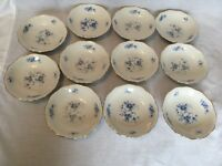 11 Mitterteich Rhapsody in Blue Floral Berry Bowls 9245 Bavaria Germany