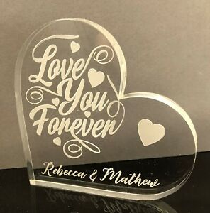 Love Anniversary  Gift - Personalised Free Engraving - Love Heart Glass - Gift