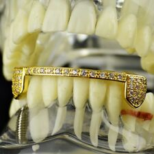 14k Gold Plated Half Grillz Bottom Cubic Zirconia Bling Hip Hop Teeth CZ Grills