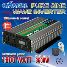 Large Shell Pure Sine Wave Power Inverter 1800W/3600W 12V-240V+Remote Control