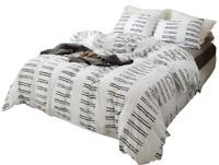 3pcs White Comforter Set Queen Soft Microfiber Modern Pattern w/ 2 Pillow Cases