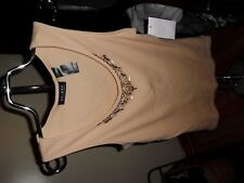 Women's Axcess Beige Sleeveless Tank Top W/Beads Size L NWT