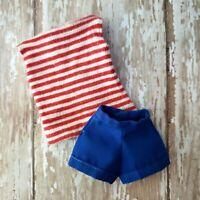 Vintage Barbie PAK Tee & Shorts Red White Blue 1962 Set MINT