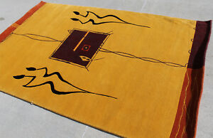 R14062 Vibrant Contemporary Tibetan Rug 5' X 8' Orange Gold Handmade In Nepal
