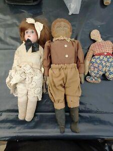 Antique Primitive folk art rag doll lot + porcelain doll.