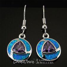 Blue Fire Opal 7x7mm Trillion Amethyst Silver Jewellery Dangle Drop Earrings