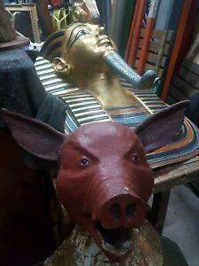 Antique Butchers Shop Sign Display Pig bust Piggy French Patina Restaurant 🐖