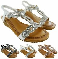 NEW LADIES WOMENS LOW HEEL WEDGE SUMMER BEACH SLING BACK SANDALS SHOES SIZE 3-8