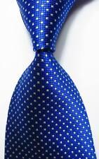 New Classic Checks Blue White JACQUARD WOVEN Silk Men's Tie Necktie