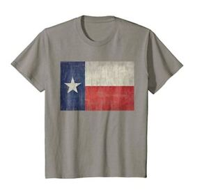 NEW NWT YOUTH Distressed Texas State Flag T-Shirt Large Gray Lonestar Kids Boys