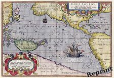 Wall Art Vintage Old World Map 1589 Maris Pacifici by  Ortelius 11x14
