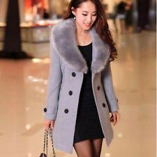 New Women's Winter Coat Long Wool Jacket Fur Collar Slim Outwear Trench coat D