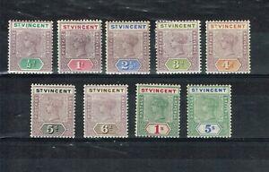 ST VINCENT - QV 1899 SG 67/75 WMK CROWN CA NICE MOUNTED MINT SET