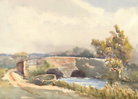 Mid 20th Century Watercolour - Landscape View with Two Arch Bridge