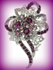 Rhinestone Brooch Pin~Easter Gift Light Dark Purple Flower Floral