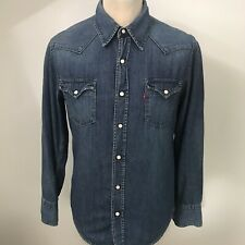 LEVIS Mens Denim Shirt Western Sawtooth Popper Buttons Size Small