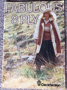 Vintage Cleckheaton Knitting Pattern Book Fabulous 8 Ply - Man / Lady