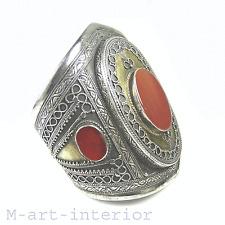 Antik Afghan tribal plata brazalete cornalina kuchi ethnic Silver cuff Bangle