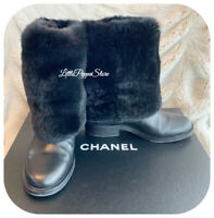 EXCELLENT USED CONDITION CHANEL FUR BOOTS G31196 Y50046 SIZE 38M IN BLACK