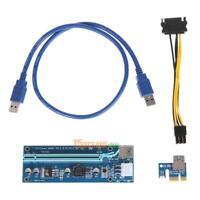 USB 3.0 PCI-E Express 1x to 16x Extender Riser Card Adapter SATA Power BTC Cable