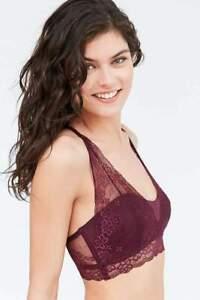 April Lace Bralette Flirty Femme Moulded Cup Bandeau Bra Sheer Black or Berry