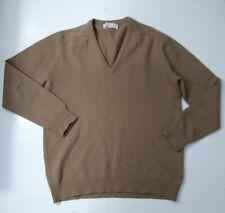 VINTAGE PRINGLE OF SCOTLAND PURE WOOL V-NECK SWEATER Light Brown 112/44 / Large