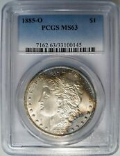 1885 O Silver Morgan Dollar PCGS MS 63 BLUE Monster Two Sided Toner Toned Toning