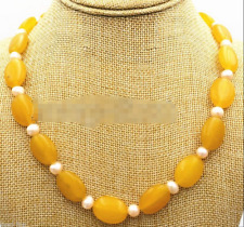 """13x18mm Natural Yellow Jade Oval Gemstone Pink Fresh water Pearl Necklace 18"""""""