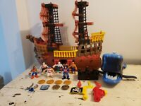 FISHER-PRICE IMAGINEXT 2006 Pirate Ship whale  Figures Cannon plus more