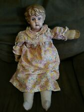 Old Antique doll Minerva Germany 8 grandma boy metal face open mouth cloth body