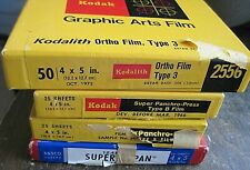 Lot (4 boxes) of 4x5 sheet film - sealed/opened - 1960s - 1970s