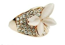 R284 Forever 21 Sparkling Rhinestone Moon Stone Butterfly Wedding Bridal Ring US