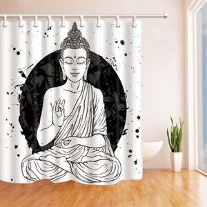 """Buddha Shower Curtain Zen sitting art painting Bathroom Waterproof Fabric 70"""""""